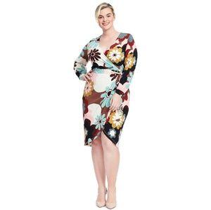Eloquii Retro 60s Floral Faux Wrap Dress NWOT